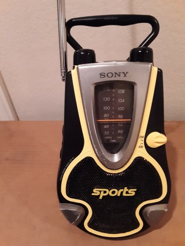 Sony Sports ICF-F1 AM/FM  Water Resistant Radio w/Built in Handle Tested Works