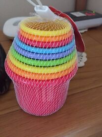 Set of 9 Multi-Coloured Stacking Cups ** Brand New **