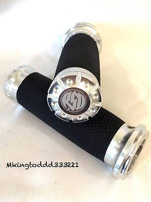 Silver 1'' RSD Handle Bar Grips For Harley Davidson Touring Softail DYNA