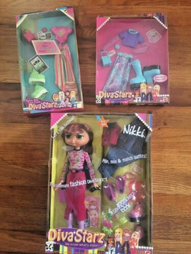 """Diva Starz Doll """"NIKKI"""" Hip Mix & Match Outfit + 2 more outfits (unopened)"""