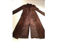 Brown leather reefer coat size 12