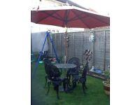 Black cast Aluminium patio table + chairs + parasol + base beautiful cb5 £110