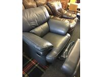 Blue leather recliner chair can deliver