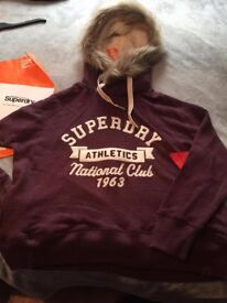 New Superdry Fur Hoody Sweater. Large.