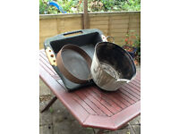 Vintage Galvanised Bath, Garden Sieve and Potting Tray