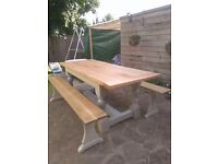 Antique Refectory Table & pair French Oak vintage benches