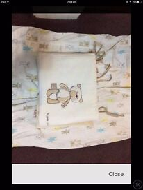 Nursery curtains and cot bumper