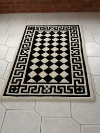 Black and white patterned Indian rug
