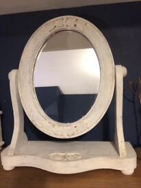 Solid pine dressing table mirror - painted and distressed
