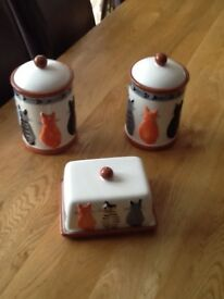 Tea and sugar Cat canisters plus butter dish
