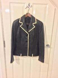 Leather Jacket, Black with Cream Trim
