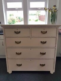 Painted Antique Victorian Chest of Drawers. Shabby Chic