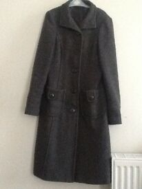 Women's size 8 Dorothy Perkins long winter coat (grey, wool mix), excellent condition