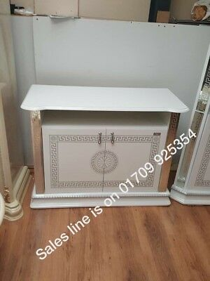 VERSACE DESIGN WHITE & SILVER ITALIAN HIGH GLOSS TV UNIT