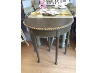 Beautiful Hand Painted Demi Lune Card Table