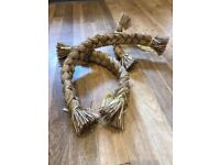 Set of 3 straw plaits with yellow ribbons varying lengths...great for harvest displays