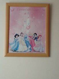 Large Disney Princess Pictures in frame & lampshade