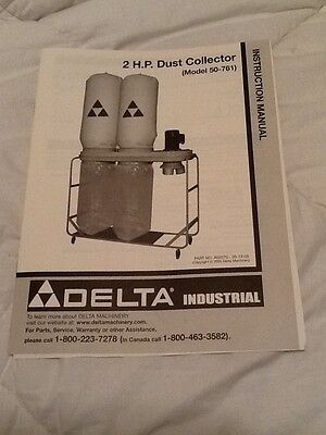DELTA 2 H.P. DUST COLLECTOR 50-761 INSTRUCTION MANUAL ONLY