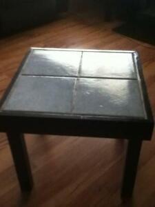 HANDMADE SMALL TIMBER AND TILE BLACK AND GREY COFFEE TABLE
