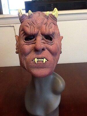 Red Devil Mask Full Face 4 Horns Rubber Latex Halloween Costume Teeth Demon](Rubber Face Masks Halloween Costume)