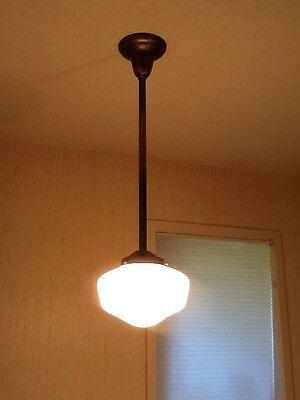 Quality Rejuvenation Reproduction Antique Stem Pendant Schoolhouse Light Fixture