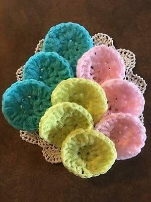 FREE SHiP pot scrubber dish scrub nylon 9 handmade crochet AQUA ,Pink,Yellow