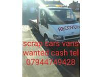 Cash paid for scrap car's van's