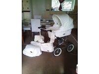 White leather norton pram/car seat
