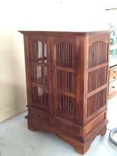 Bali style TV cabinet with doors Newtown Ipswich City Preview