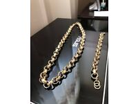 "Gold Plated Belcher 30"" Chain and 8"" Bracelet Set"