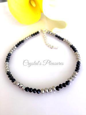 Metalic Silver And Black Crystal Ankle Anklet Bracelet