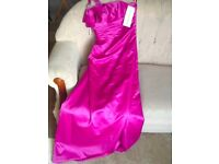 Very beautiful pink bridesmaid/ prom dress, one shoulder size 12, new with tags