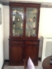 Mahogany glass fronted display/storage cabinet
