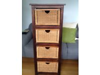 Wood and wicker basket 4 drawer storage unit
