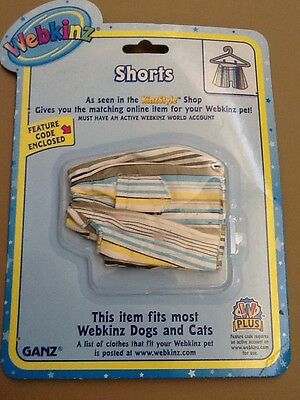 Webkinz Pet Clothing SHORTS for Dogs & Cats Ganz New With Feature Code NIP