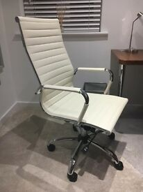 Contemporary cream faux leather office chair