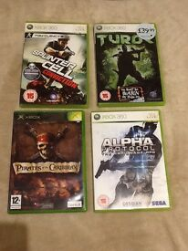 Bundle of 4 games includes Pirates of Caribbean, Turok, Alpha Protocol, and Splinter Cell.