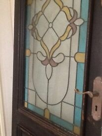 Exterior Triple Glazed Door & Units of Lead Light Glass For Sale