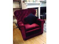 Vintage red velvet armchair
