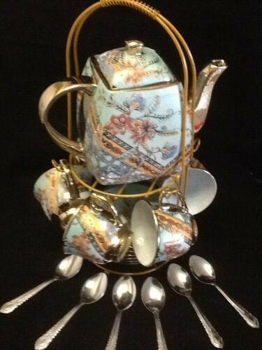 20 Pc Tea Set Tea Pot 6 Cups 6 Saucers 6 Spoons Coffee Cup Set 3 OZ Cups MY185