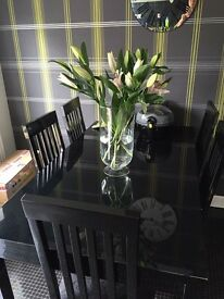 Black gloss table & chairs
