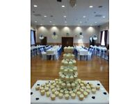 White/ Black.Ivory Lycra Chair covers and organza sashes