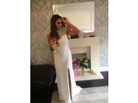 White diamanté backless prom dress with slit in the leg