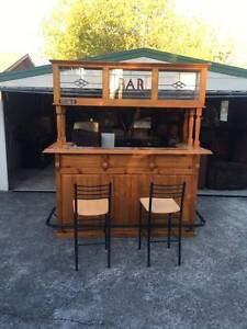 Wooden bar and bar stools Albury Albury Area Preview