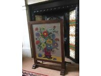 Embroidered Tapestry Fireplace Screen