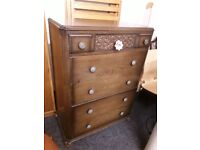 Vintage oak 1930's chest drawers Copley Mill Low Cost Moves 2nd Hand Furniture STALYBRIDGE SK15 3DN