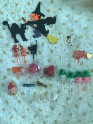 Vintage Halloween, Holidays+ Cupcake Picks Toppers Cake Decorations, Tips Lot