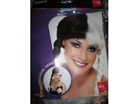 SCHOOL GIRL VAMP BLACK AND WHITE FANCY DRESS WIG GREAT FOR HALLOWEEN PARTY