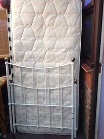Victorian style single bed with nearly new mattress & memory foam topper