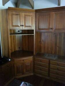 Large Timber Entertainment corner unit 3 pieces of furniture Yatala Gold Coast North Preview